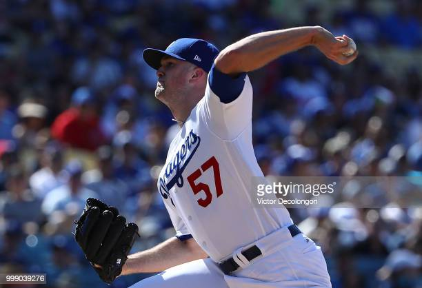 Pitcher Alex Wood of the Los Angeles Dodgers pitches in the first inning during the MLB game against the Los Angeles Angels of Anaheim at Dodger...