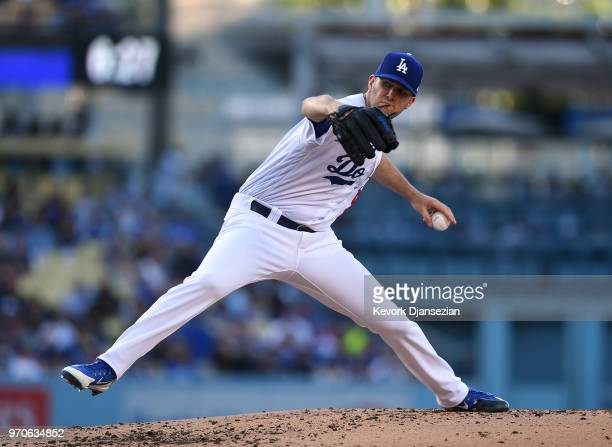 Pitcher Alex Wood of the Los Angeles Dodgers throws a pitch against Atlanta Braves during the second inning at Dodger Stadium on June 9 2018 in Los...