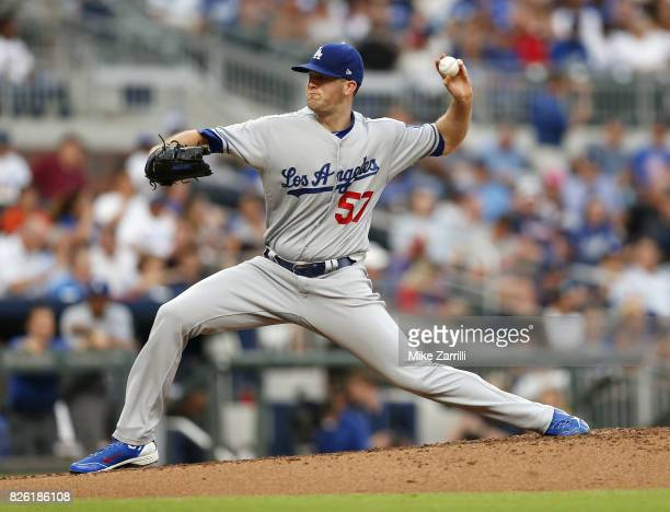 Pitcher Alex Wood of the Los Angeles Dodgers throws a pitch in the second inning during the game against the Atlanta Braves at SunTrust Park on...