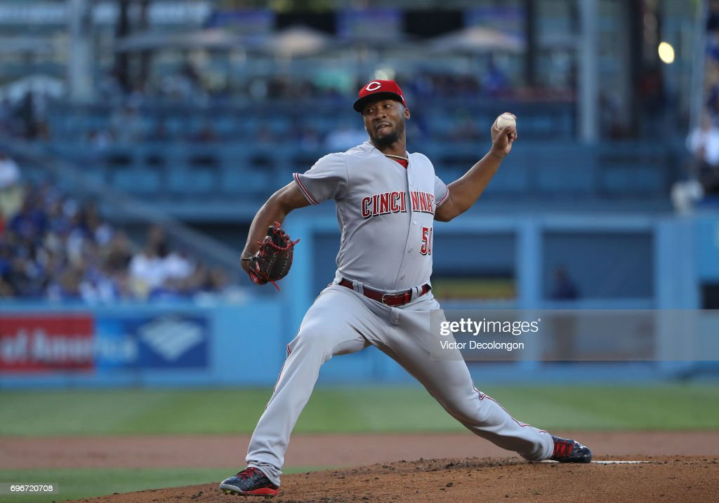 Pitcher Amir Garrett #50 of the Cincinnati Reds pitches in the first inning during the MLB game against the Los Angeles Dodgers at Dodger Stadium on June 9, 2017 in Los Angeles, California. The Dodgers defeated the Reds 7-2.