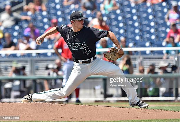Pitcher Andrew Beckwith of the Coastal Carolina Chanticleers delivers a pitch against the Arizona Wildcats in the first inning during game three of...