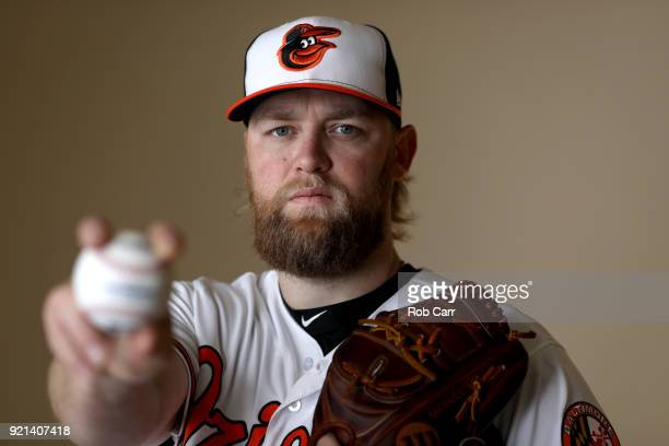 Pitcher Andrew Cashner of the Baltimore Orioles poses for a photo during photo days at Ed Smith Stadium on February 20 2018 in Sarasota FL