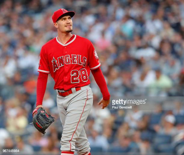 Pitcher Andrew Heaney of the Los Angeles Angels looks over in an MLB baseball game against the New York Yankees on May 25 2018 at Yankee Stadium in...