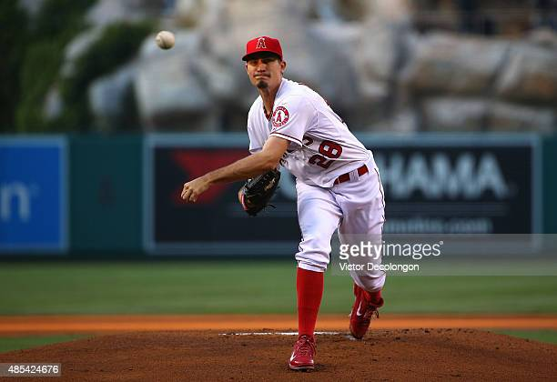 Pitcher Andrew Heaney of the Los Angeles Angels of Anaheim pitches in the first inning during the MLB game against the Toronto Blue Jays at Angel...
