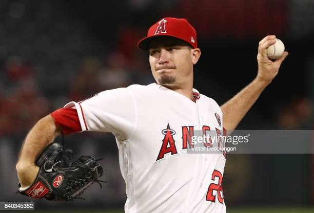 Pitcher Andrew Heaney of the Los Angeles Angels of Anaheim pitches in the third inning during the MLB game against the Oakland Athletics at Angel...