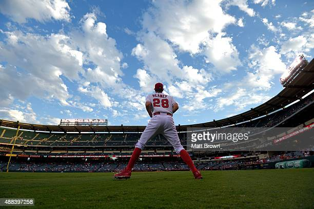 Pitcher Andrew Heaney of the Los Angeles Angels of Anaheim runs during warmup before the game against the Los Angeles Dodgers at Angel Stadium of...