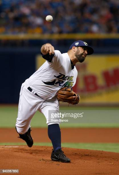 Pitcher Andrew Kittredge of the Tampa Bay Rays pitches during the first inning of a game against the Boston Red Sox on March 31 2018 at Tropicana...