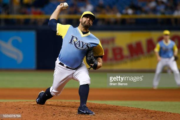 Pitcher Andrew Kittredge pitches during the eighth inning of a game against the Boston Red Sox on August 26 2018 at Tropicana Field in St Petersburg...