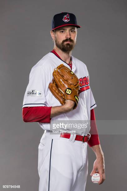 Pitcher Andrew Miller poses for a photo during the Cleveland Indians photo day on Wednesday Feb 21 2018 at Goodyear Ballpark in Goodyear Ariz