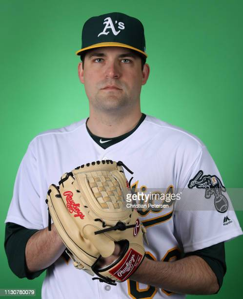 Pitcher Andrew Triggs of the Oakland Athletics poses for a portrait during photo day at HoHoKam Stadium on February 19 2019 in Mesa Arizona