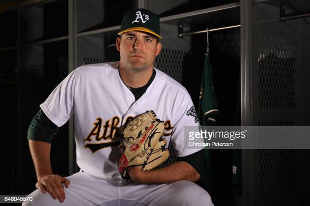 Pitcher Andrew Triggs of the Oakland Athletics poses for a portrait during photo day at HoHoKam Stadium on February 22 2017 in Mesa Arizona