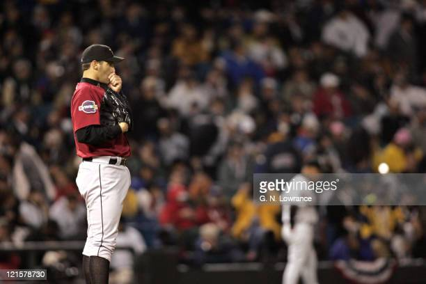 Pitcher Andy Pettitte of the Houston Astros during game 2 of the World Series against the Houston Astros at US Cellular Field in Chicago Illinois on...
