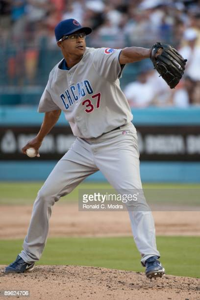 Pitcher Angel Guzman of the Chicago Cubs pitches during a MLB game against the Florida Marlins on August 2 2009 at Land Shark Stadium in Miami Florida
