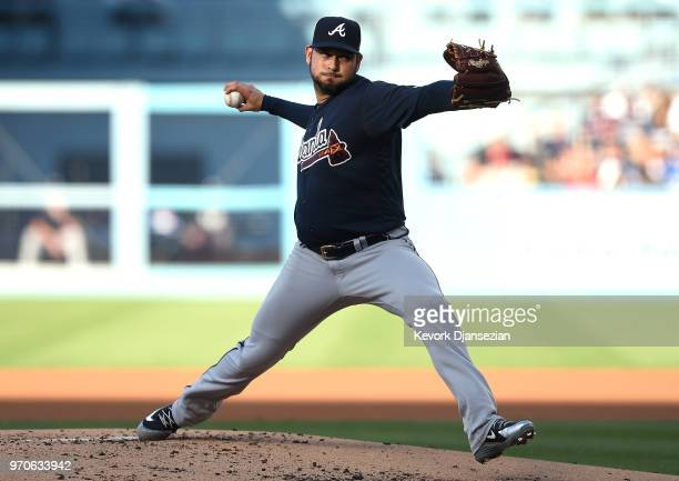 Pitcher Anibal Sanchez of the Atlanta Braves throws a pitch against Los Angeles Dodgers during the first inning at Dodger Stadium on June 9 2018 in...