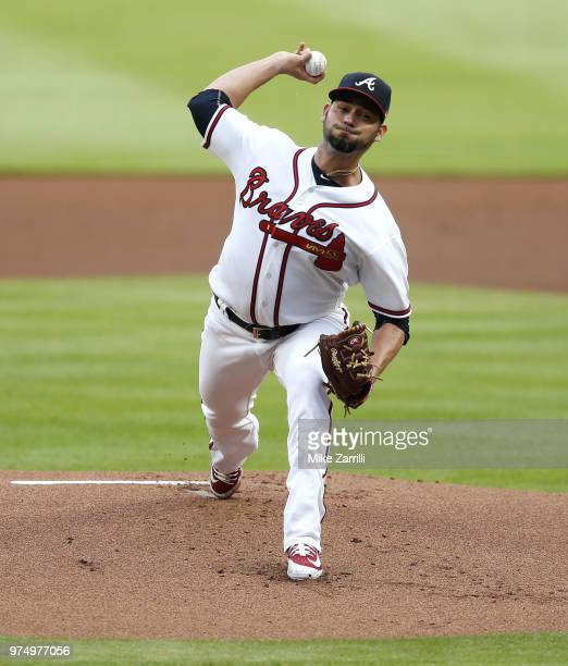 Pitcher Anibal Sanchez of the Atlanta Braves throws a pitch in the first inning during the game against the San Diego Padres at SunTrust Park on June...