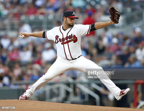 Pitcher Anibal Sanchez of the Atlanta Braves throws a pitch in the second inning during the game against the San Diego Padres at SunTrust Park on...