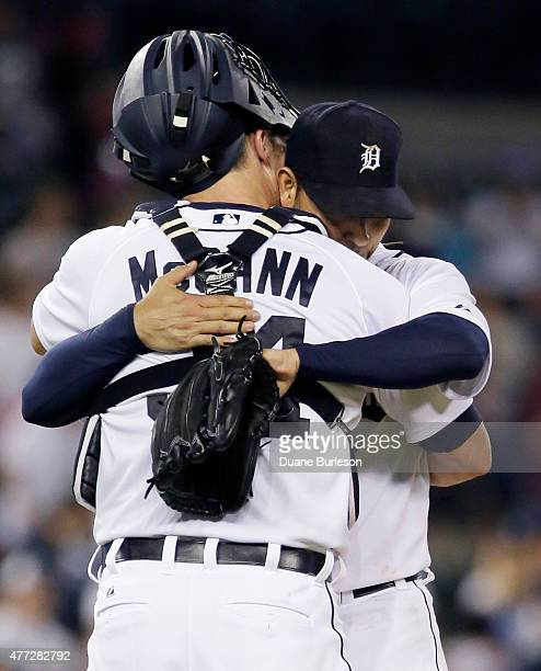 Pitcher Anibal Sanchez of the Detroit Tigers hugs catcher James McCann of the Detroit Tigers after pitching a complete game in a 60 win over the...