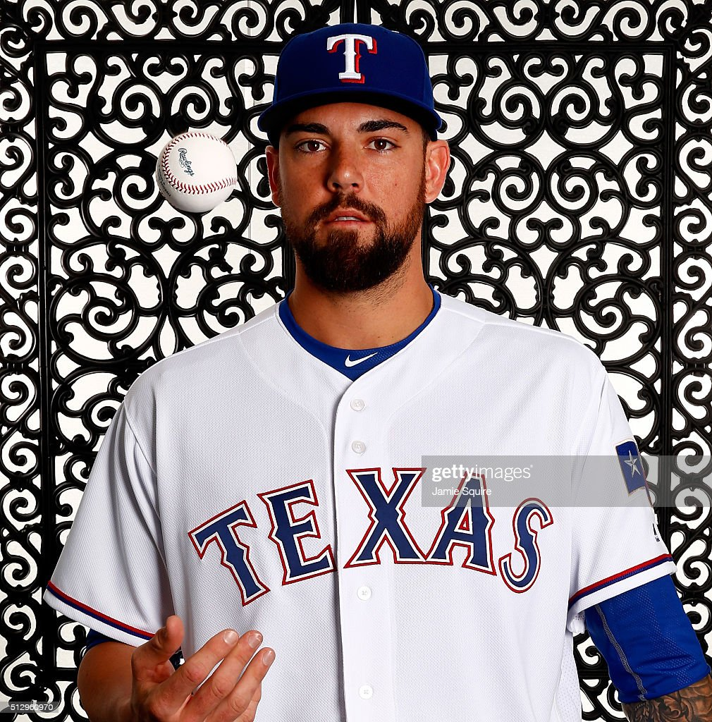 Pitcher Anthony Ranaudo #53 of the Texas Rangers poses during a spring training photo shoot on February 28, 2016 in Surprise, Arizona.