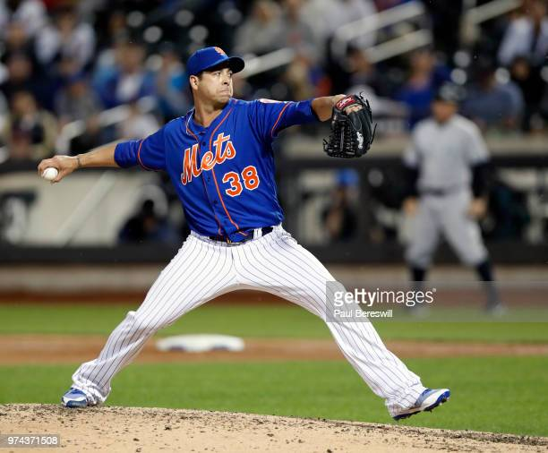 Pitcher Anthony Swarzak of the New York Mets pitches in relief in an interleague MLB baseball game against the New York Yankees on June 10 2018 at...