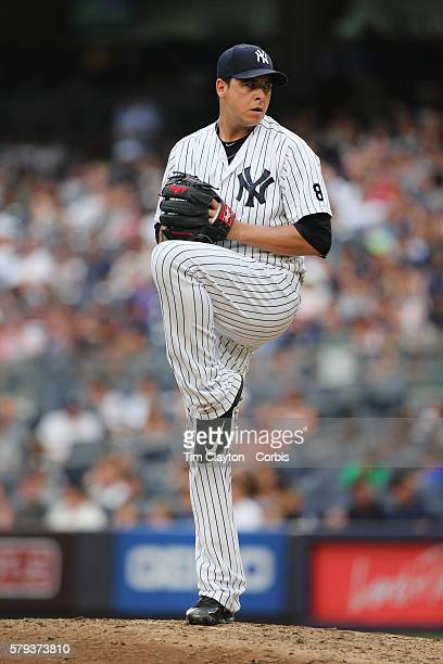 Pitcher Anthony Swarzak of the New York Yankees pitching during the Boston Red Sox Vs New York Yankees regular season MLB game at Yankee Stadium on...