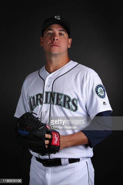 Pitcher Anthony Swarzak of the Seattle Mariners poses for a portrait during photo day at Peoria Stadium on February 18 2019 in Peoria Arizona