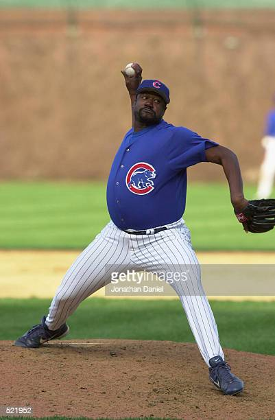 Pitcher Antonio Alfonseca of the Chicago Cubs throws a pitch during the MLB game against the Cincinnati Reds at Wrigley Field in Chicago Illinois on...