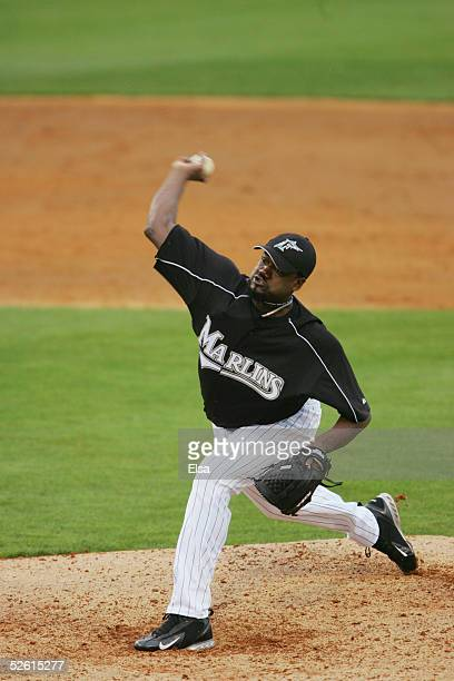 Pitcher Antonio Alfonseca of the Florida Marlins pitches against the Baltimore Orioles during a spring training game on March 3 2005 at Roger Dean...