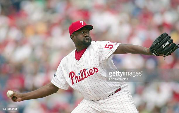 Pitcher Antonio Alfonseca of the Philadelphia Phillies pitches in a game against the Florida Marlins on April 29 2007 at Citizens Bank Park in...