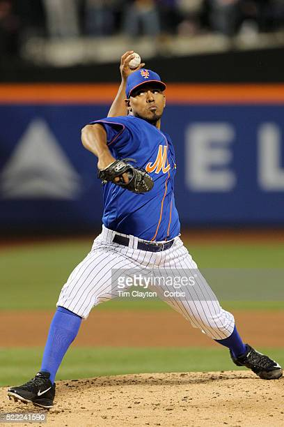 Pitcher Antonio Bastardo New York Mets pitching during the Miami Marlins Vs New York Mets MLB regular season ball game at Citi Field on April 11 2016...