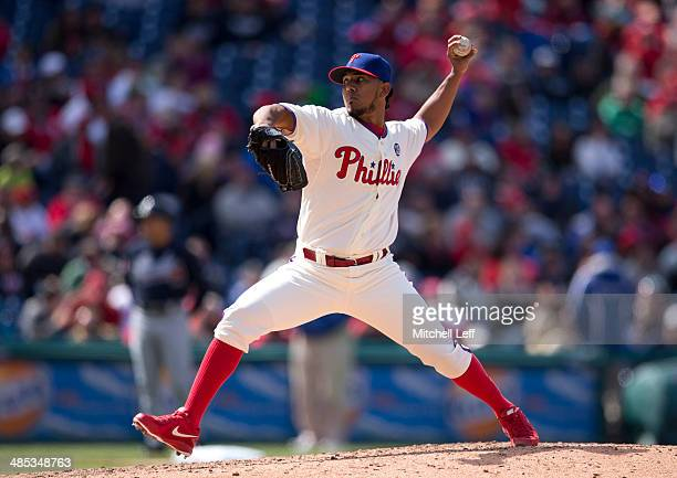 Pitcher Antonio Bastardo of the Philadelphia Phillies throws a pitch in the eighth inning on April 17 2014 at Citizens Bank Park in Philadelphia...