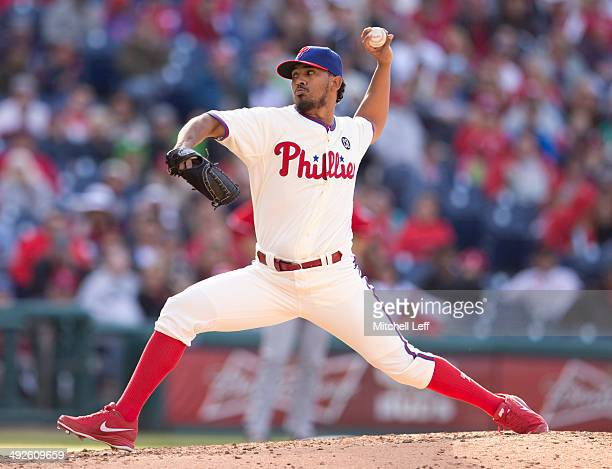 Pitcher Antonio Bastardo of the Philadelphia Phillies throws a pitch against the Washington Nationals on May 4 2014 at Citizens Bank Park in...