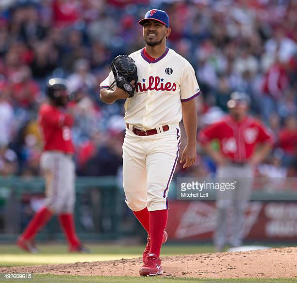 Pitcher Antonio Bastardo of the Philadelphia Phillies walks off the mound against the Washington Nationals on May 4 2014 at Citizens Bank Park in...
