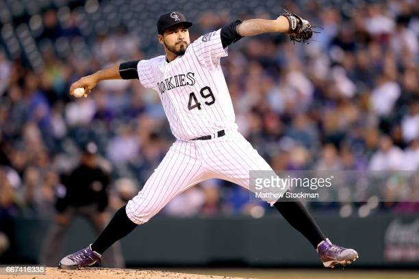 Pitcher Antonio Senzatela of the Colorado Rockies throws against the San Diego Padres at Coors Field on April 11 2017 in Denver Colorado