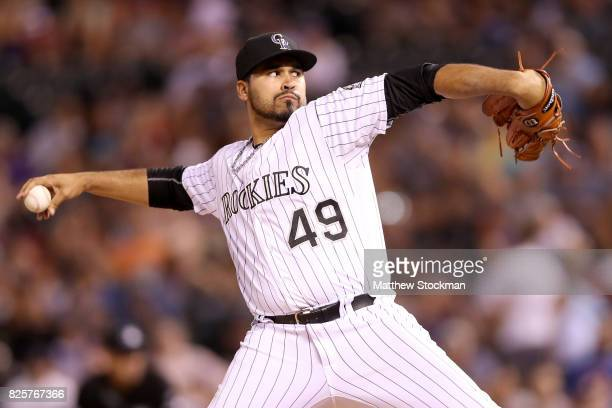 Pitcher Antonio Senzatela of the Colorado Rockies throws in the ninth inning against the New York Mets at Coors Field on August 2 2017 in Denver...