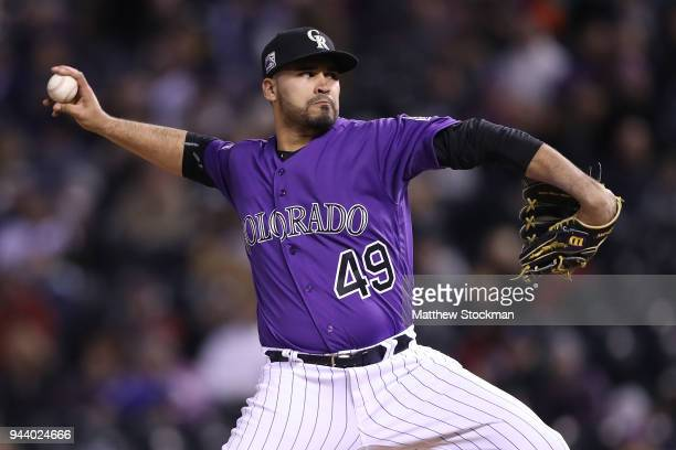 Pitcher Antonio Senzatela of the Colorado Rockies throws in the sixth inning against the San Diego Padres at Coors Field on April 9 2018 in Denver...