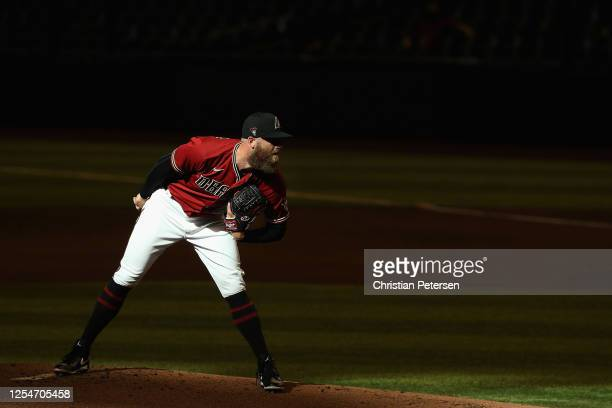 Pitcher Archie Bradley of the Arizona Diamondbacks prepares to throw during an intrasquad game ahead of the abbreviated MLB season at Chase Field on...