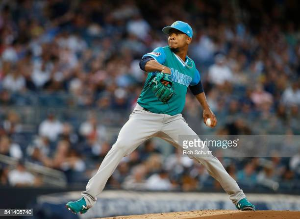 Pitcher Ariel Miranda of the Seattle Mariners in action against the New York Yankees during a game at Yankee Stadium on August 25 2017 in the Bronx...