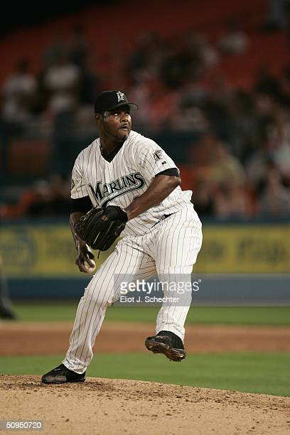 Pitcher Armando Benitez of the Florida Marlins pitches against the Houston Astros on May 20, 2004 at Pro Player Stadium in Miami, Florida. The...