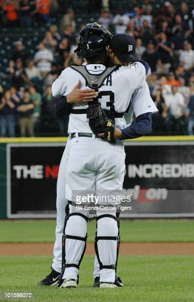 Pitcher Armando Galarraga of the Detroit Tigers hugs Alex Avila after a game against the Cleveland Indians on June 2 2010 in Detroit Michigan Jason...