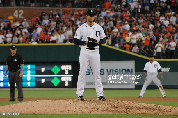 Pitcher Armando Galarraga of the Detroit Tigers sets to throw a pitch during a game against the Cleveland Indians on June 2 2010 in Detroit Michigan...