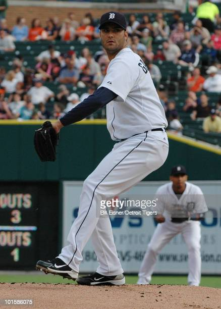 Pitcher Armando Galarraga of the Detroit Tigers throws a pitch during a game against the Cleveland Indians on June 2 2010 in Detroit Michigan Jason...