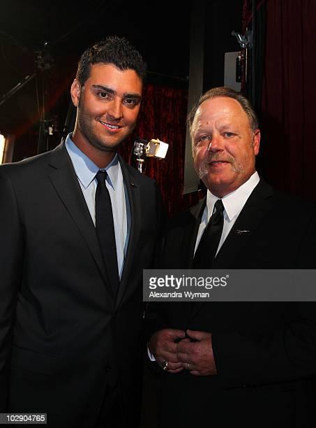 Pitcher Armando Gallaraga and MLB umpire Jim Joyce attend the 2010 ESPY Awards at Nokia Theatre LA Live on July 14 2010 in Los Angeles California