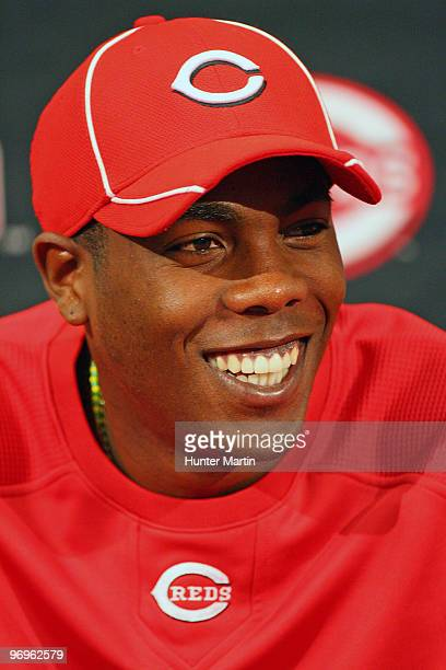 Pitcher Aroldis Chapman of the Cincinnati Reds speaks with the media during a press conference at the Cincinnati Reds Development Complex on February...