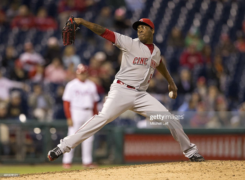 Pitcher Aroldis Chapman #54 of the Cincinnati Reds throws a pitch in the bottom of the ninth inning against the Philadelphia Phillies on May 16, 2014 at Citizens Bank Park in Philadelphia, Pennsylvania.