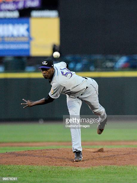 May 14, 2010: Pitcher Aroldis Chapman of the Louisville Bats throws a pitch during a game on May 14, 2010 against the Rochester Red Wings at Frontier...