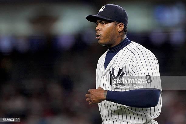 Pitcher Aroldis Chapman of the New York Yankees pitching during the Boston Red Sox Vs New York Yankees regular season MLB game at Yankee Stadium on...