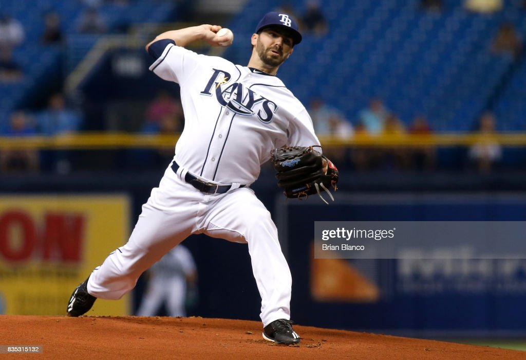 Pitcher Austin Pruitt #50 of the Tampa Bay Rays pitches during the first inning of a game against the Seattle Mariners on August 18, 2017 at Tropicana Field in St. Petersburg, Florida.