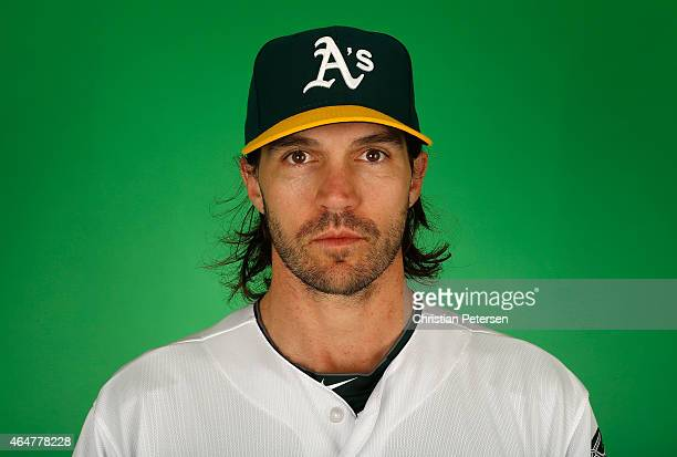 Pitcher Barry Zito of the Oakland Athletics poses for a portrait during the spring training photo day at HoHoKam Stadium on February 28 2015 in Mesa...
