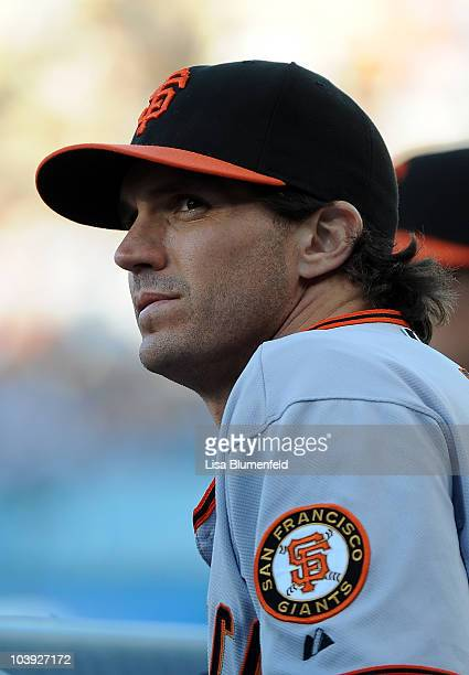 Pitcher Barry Zito of the San Francisco Giants looks on from the dugout during the game against the Los Angeles Dodgers at Dodger Stadium on...