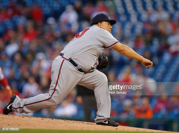 Pitcher Bartolo Colon of the Atlanta Braves in action against the Philadelphia Phillies during a game at Citizens Bank Park on April 21 2017 in...